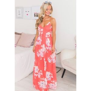 Floral Coral Maxi Dress Size Small